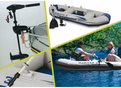 Kit bateau 3 places INTEX + moteur + batterie a décharge lente yuasa 110 AH