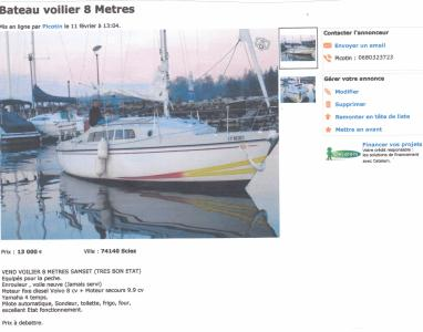 voilier 8 metres Samsett 77